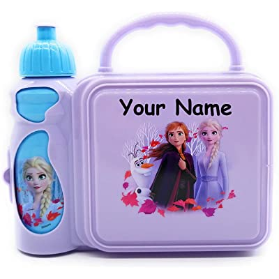 Personalized Frozen 2 Elsa, Anna and Olaf Snack and Go Back to School Plastic Lunchbox and Water Bottle Combo Lunch Tote Kit with Custom Name: Kitchen & Dining