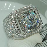 Cut Square 5A Zircon Engagement Ring Sterling Silver CZ Ring (13)
