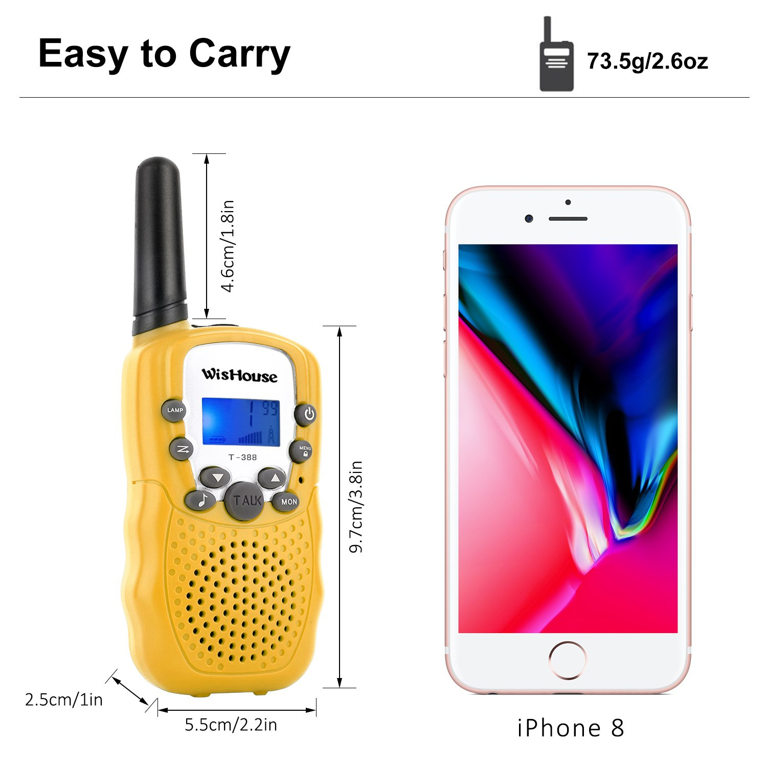WisHouse Walkie Talkies for Kids, Toys for Boys and Girls Best Handheld Walky Talky with Flashlight,VOX Function,Share Your Happiness with Family and Friends Halloween(T388 Yellow 4 Pack) by Wishouse (Image #5)