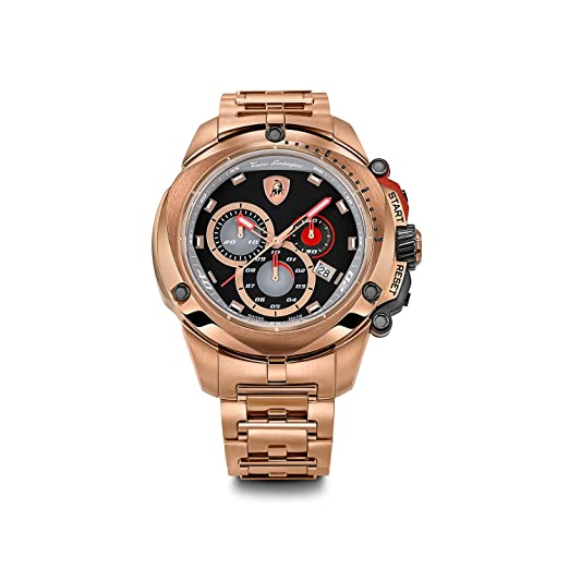 4d39ecf474d7 Tonino Lamborghini 7805 Shield serie oro tono reloj cronógrafo  Amazon.es   Relojes