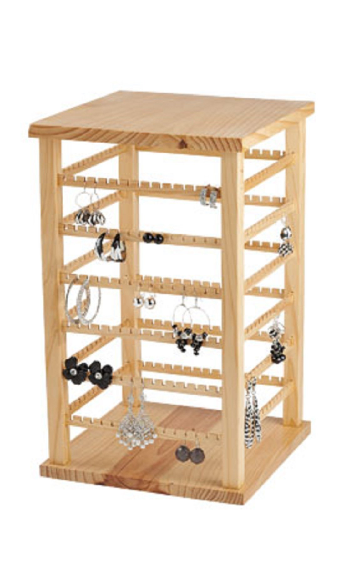 Wood Earring Display Large,• Natural Wood Finish •Overall Dimension 9 3/8''w X 9 3/8''d X 16 3/8''h,
