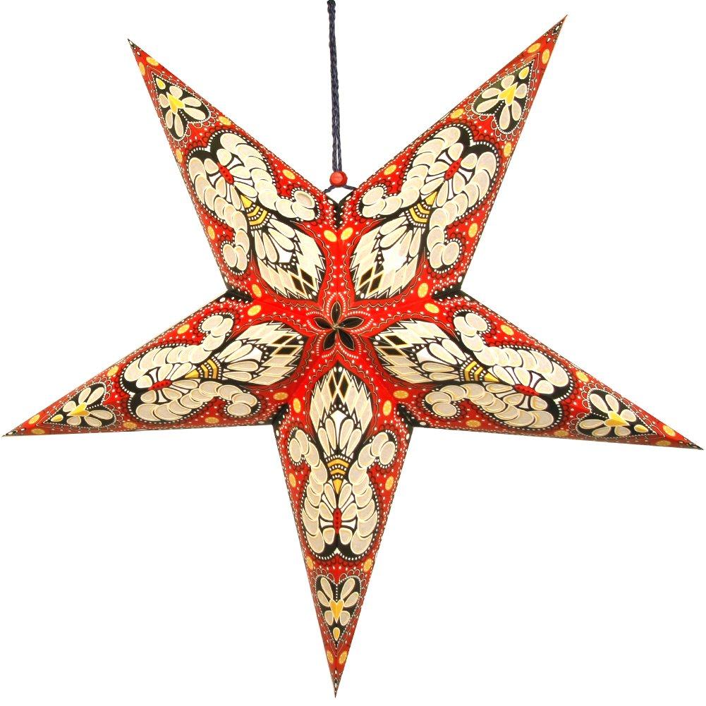 Set of Two Beautiful Print Star Lantern - Mix and Match! (Red)