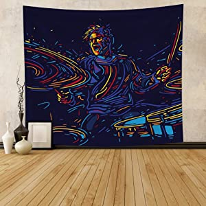 """Hidecor Musician with Drums Tapestry Abstract Art Colorful Line Paint Music Fans Poster Rock Drummer Player Concert Wall Hanging Dark Blue Polyester Blanket for Bedroom Dorm Bar Club Decor 59.1""""x51.2"""""""
