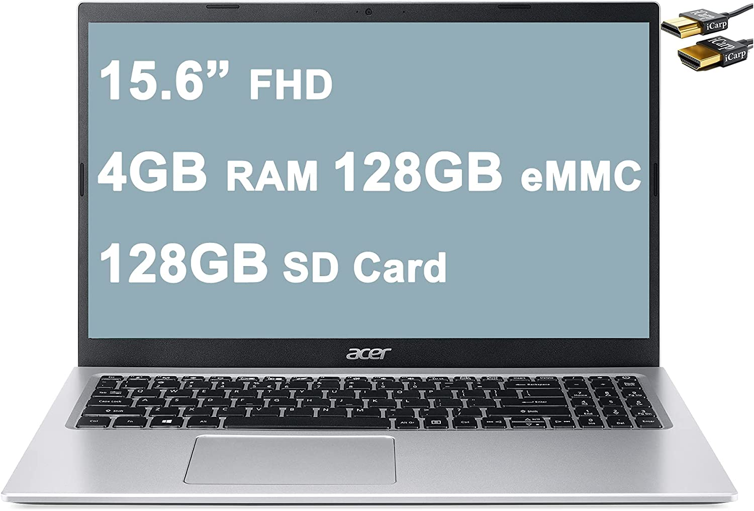 """Flagship 2021 Acer Aspire 1 Business 15 Laptop 15.6"""" FHD ComfyView Display Intel Celeron N4500 Processor 4GB RAM 128GB eMMC + 128GB SD Card Intel UHD Graphic Win10 Silver + iCarp HDMI Cable"""