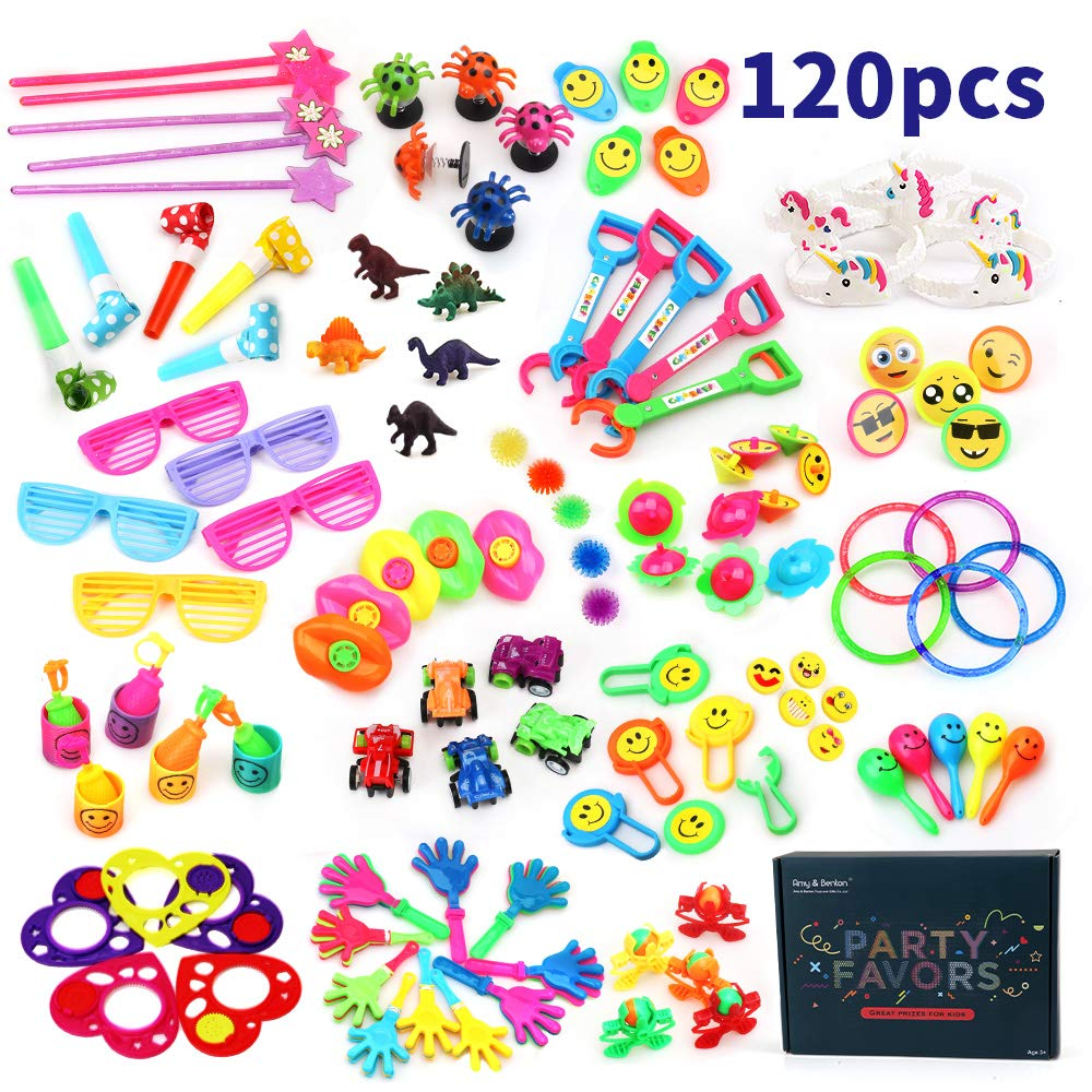 Amy&Benton 120PCS Carnival Prizes for Kids Birthday Party Favors Prizes Box Toy Assortment for Classroom by Amy & Benton