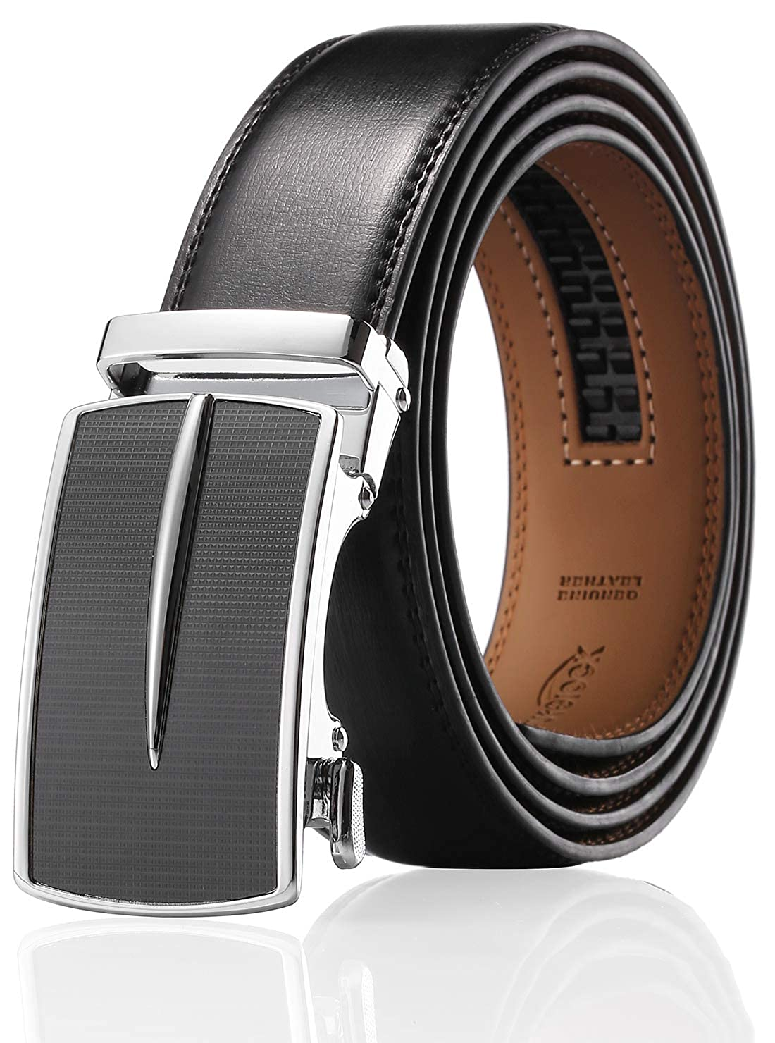 Enclosed in an Elegant Gift Box Autolock Leather Ratchet Dress Belt for Men With Automatic Buckle Mens Belt