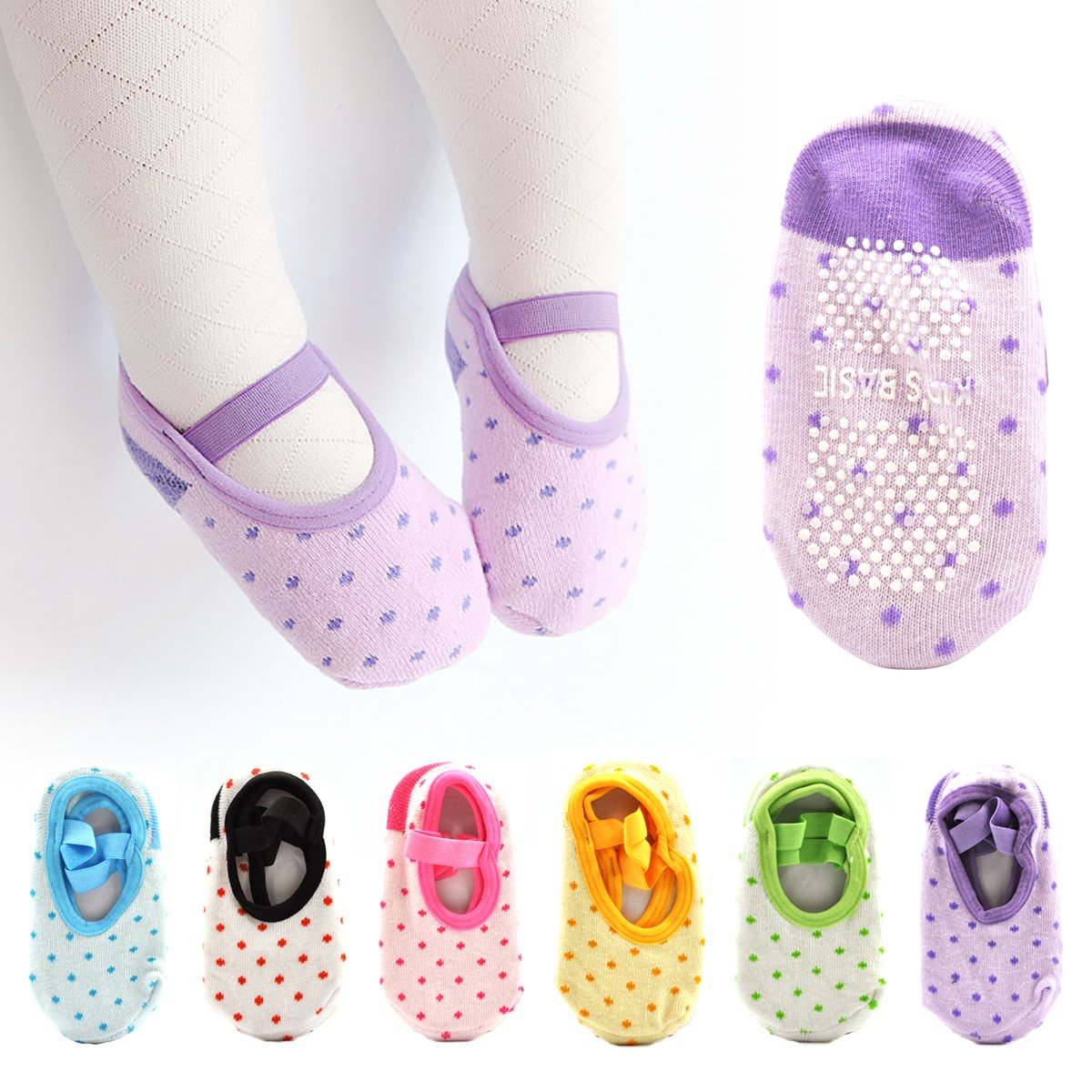 Cunina 6 Pairs Cute Lovely Toddler Baby Socks Anti Slip Skid Cartoon Socks for 5-36 Months Baby and Infants