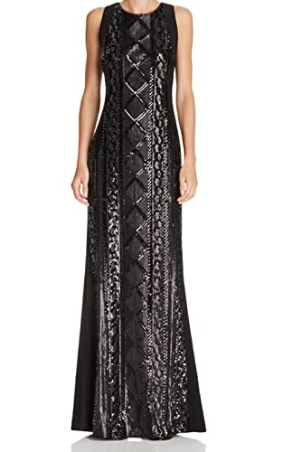 Adrianna Papell Womens Sleeveless Cable Sequin Gown