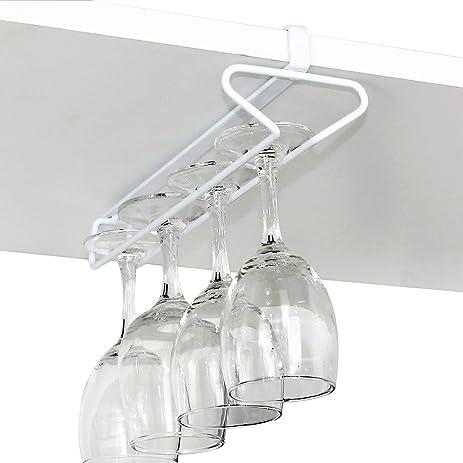 GeLive Under Cabinet Stemware Holder Wine Glass Rack Cupboard Hanger  Organizer Stainless Kitchen Bar