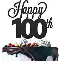 LINGTEER Happy 100th Birthday Black Cake Topper Perfect for Cheers to 100 Years Old Birthday Party Gift Decorations Sign…