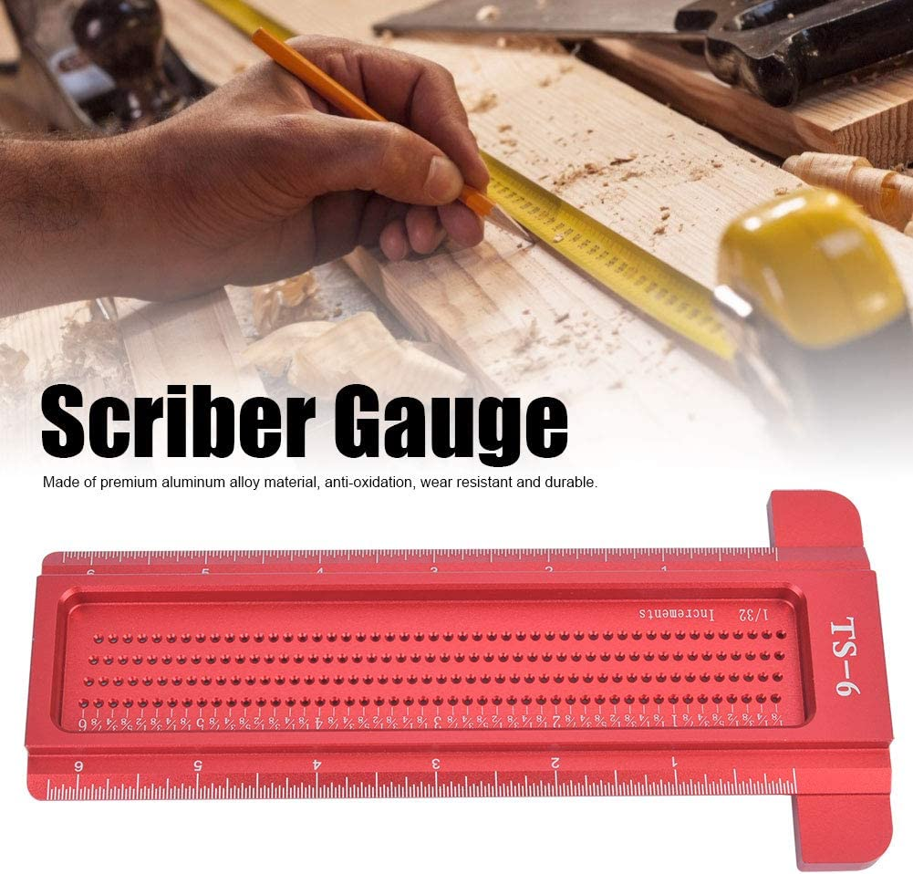 Marhynchus T-type Woodworking Scriber Gauge Red TS-6 Aluminum Alloy Hole Ruler Carpenter Measuring Tool