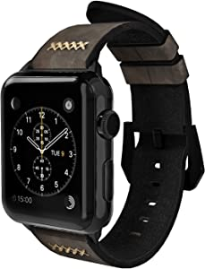 Gaze Leather Band Compatible with Apple Watch Band 38mm 40mm 44mm, Authentic Leather Replacement Strap Compatible with Apple Watch Series 5/4/3/2/1 (Gray, 42mm / 44mm)