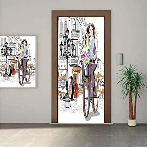 Ylljy00 Fashion House Decor Premium Stickers for Door/Wall/Fridge Home DecorGirl with Bike and Roses in a Street Old Town Musician Romantic Tour in City 32x95 ONE Piece Sticky Mural,Decal,Cover,Skin