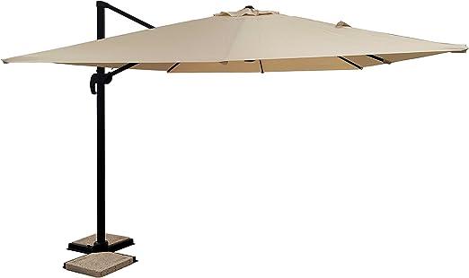 Michelles Sogari - Sombrilla de jardín 3 x 3 cm, Color Beige, Base de Aluminio 3 x 3, Tela de poliéster y rotación de 360 g – Palo Antracita y Tela Beige: Amazon.es: Jardín