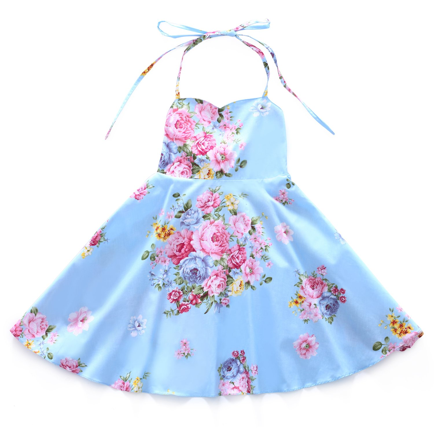 Flofallzique Floral Girls Dress Vintage Summer Flower Baby Girls Clothes Holiday Party Toddler Dress (7, Blue)