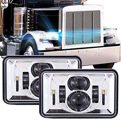 1 Pair 4x6 Inch LED Headlights 60W High Low Beam Rectangle Replacement H4651 H4652 H4656 H4666 H6545 Projector Lens for Peterbil Kenworth Freightinger Ford Probe Chevrolet Oldsmobile Cutlass - Chrome: Automotive