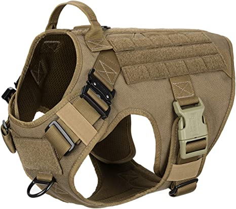 ICEFANG Tactical Dog Harness,K9 Working Dog Vest,No Pulling Front Clip Leash Attachment