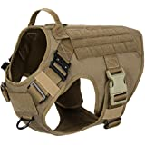 ICEFANG Tactical Dog Harness,2X Metal Buckle,Working Dog MOLLE Vest with Handle,No Pulling Front Leash Clip,Hook and…