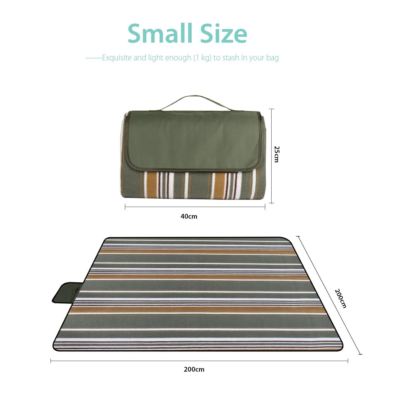 con mango de soporte 200 x 200 cm port/átil C/ésped plegable Verde impermeable Sekey Picnic Manta