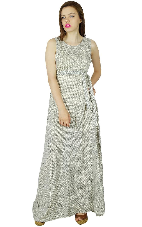 Bimba Frauen langen Maxi-Kleid Baumwolle beige sleeveless Kleid Sommer Kleidung an