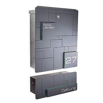 Design Briefkasten Edelstahl - Gravur - Anthrazit RAL 7016 - Wand-Montage -  Größe: 385x330x110 mm (mit Zeitungsfach)