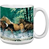 Horses Extra Large Mug, 20-Ounce Jumbo Ceramic Coffee Cup Spring Creek Run Themed Horse Lovers - Gift for horse people (XM29525) Tree-Free Greetings