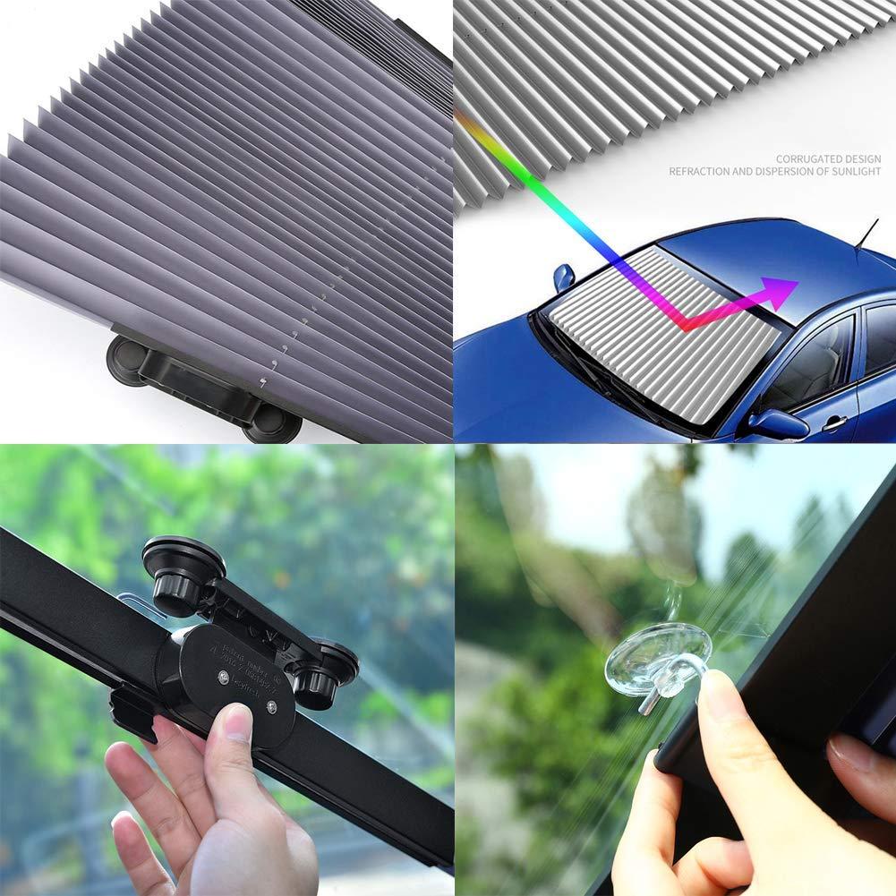 FBARTL Auto-Windschutzscheiben-Sonnenschutz Akkordeon-Typ Automatische einziehbare Windschutzscheiben-Sonnenblende Sonnenschutzd/ämmungs-Sonnenschutz 80 cm LKW