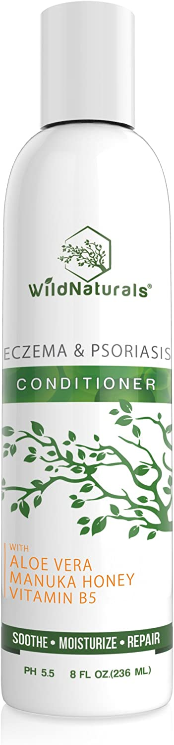 Wild Naturals Eczema Psoriasis Conditioner : 98% Natural, 80% Organic, Sulfate Free, Soothing, Healing, Anti Dandruff, Flaky, Itchy, Dry Scalp Treatment for Seborrheic Dermatitis, Moisturizing, 8oz