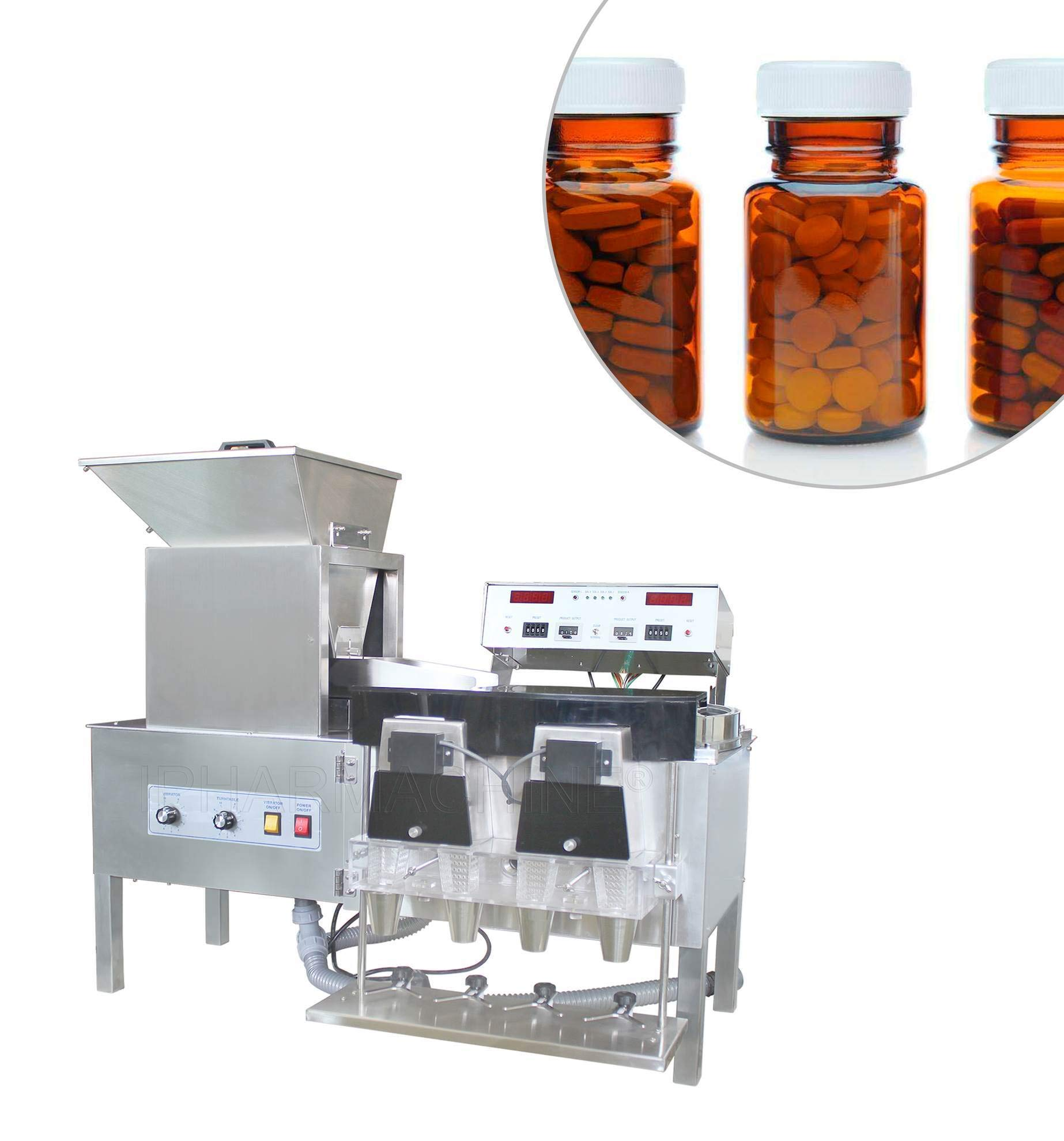 CapsulCN! Automatic Stainless Steel Counting Machine YL-4 Capsule/Pills Counter 110V/60Hz
