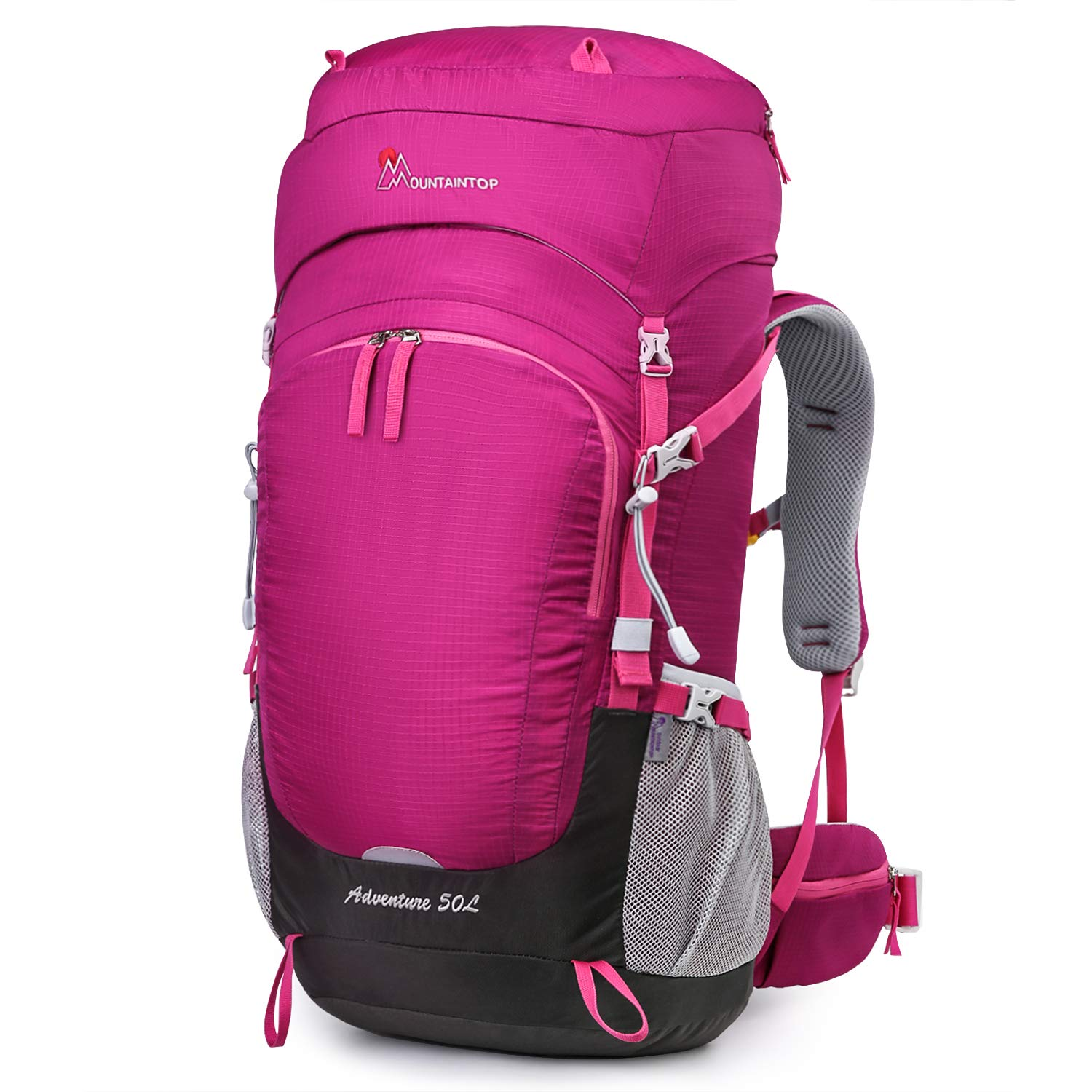MOUNTAINTOP 55L/65L Internal Frame Backpack Hiking Backpack with Rain Cover (50L-Purplish red) by MOUNTAINTOP