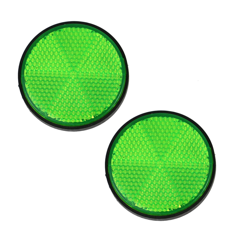 Pomeat 8 Pack Plastic Green Round Screw Backed Reflector for Motorcycles Motor ATV Bikes Dirt Bike