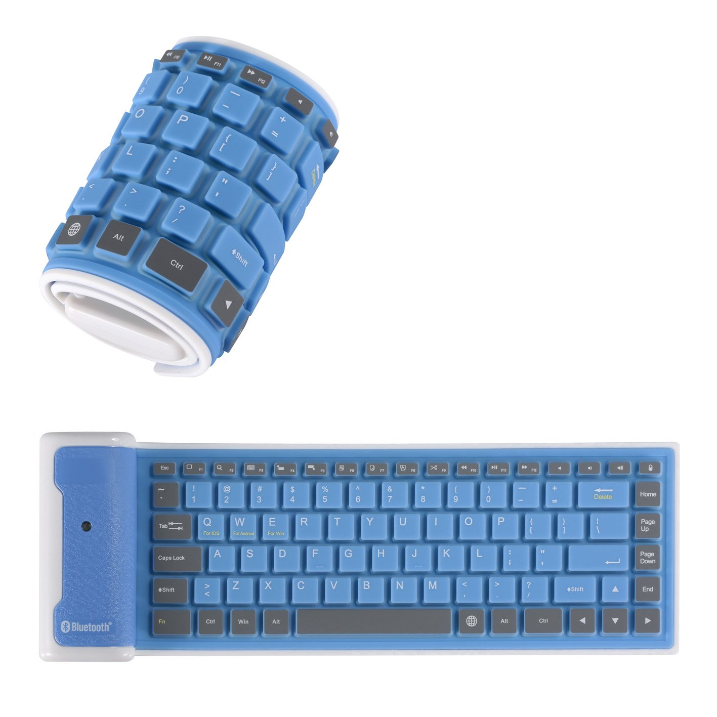 Yuzihan Roll up Mini Bluetooth Keyboard For Pad Tablets Phones Portable Silicone Rollup Waterproof Flexible Keyboard Blue