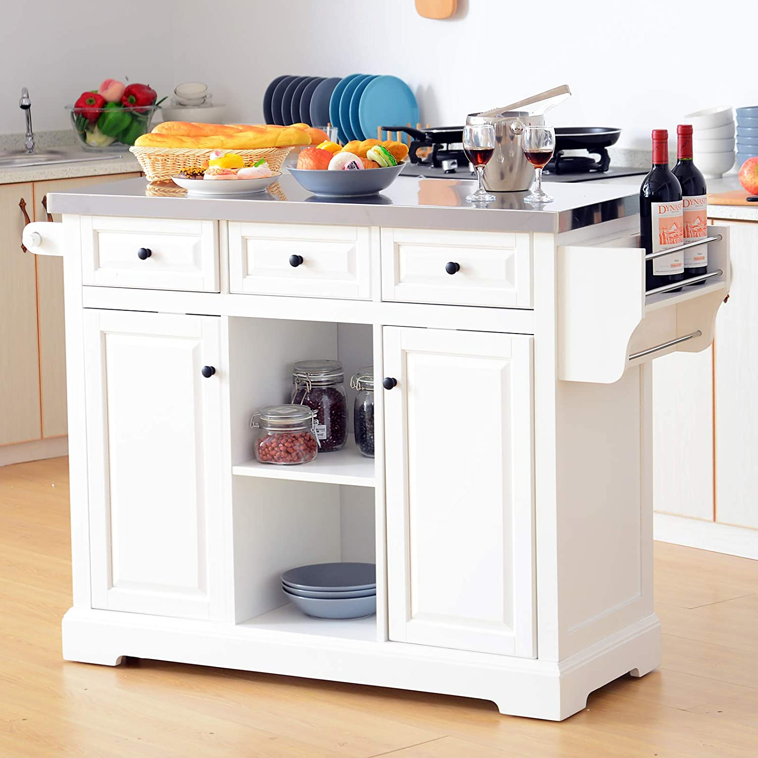 HOMCOM 51 x 18 x 36 Pine Wood Stainless Steel Portable Multi-Storage Rolling Kitchen Island Cart with Wheels – White