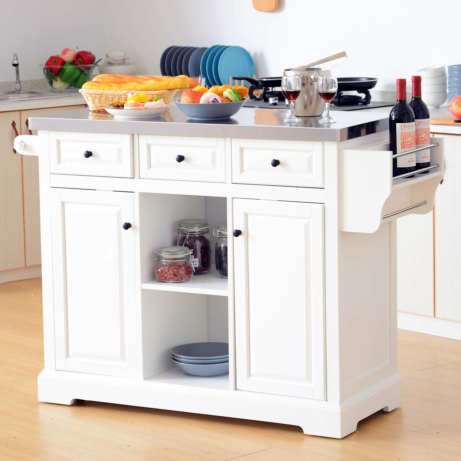HOMCOM 51'' x 18'' x 36'' Pine Wood Stainless Steel Portable Multi-Storage Rolling Kitchen Island Cart with Wheels - White by HOMCOM (Image #2)