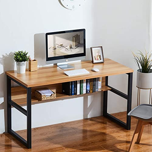 Sedeta 55 Computer Desk with Bookshelf, Modern Office Desk with Storage Shelves, Large Computer Table, Sturdy Writing Table Workstation for Home Office, Wood and Metal Frame, Oak