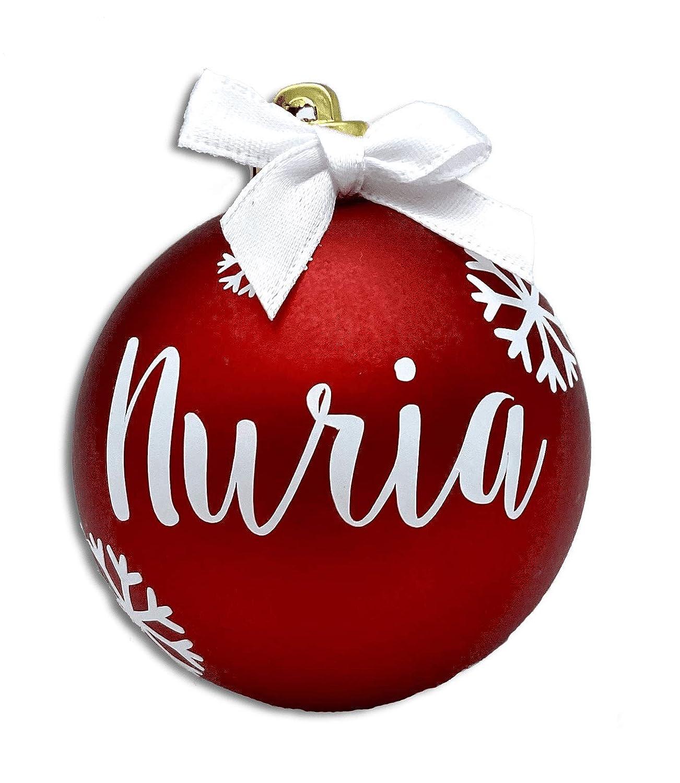 Bolas de Navidad Personalizadas Rojas Nombre Pack 4 Decoración Árbol de Navidad Regalo