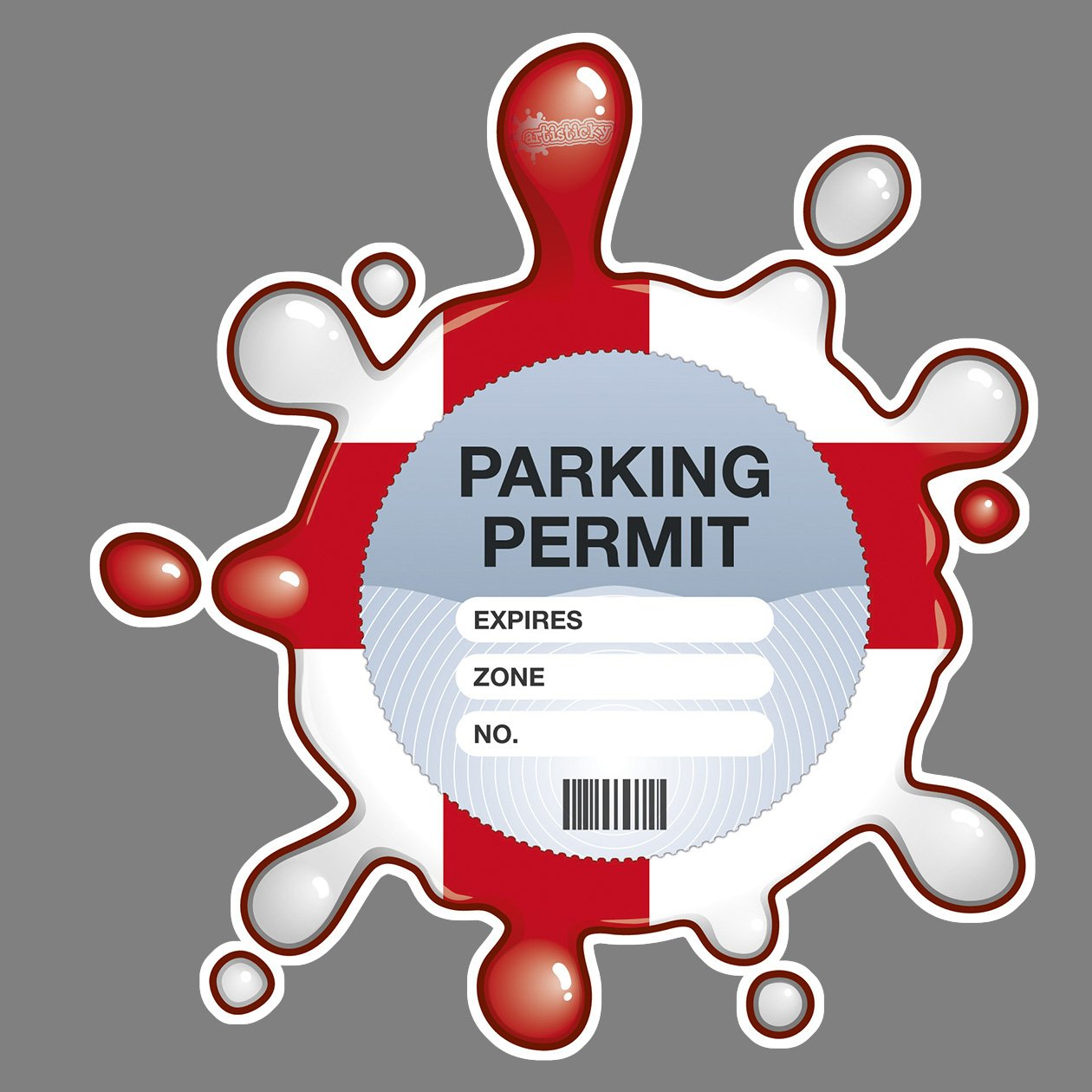 Parking Permit Holder Skin English Splat Self Cling PVC - Free UK Postage Artisticky AS-0039