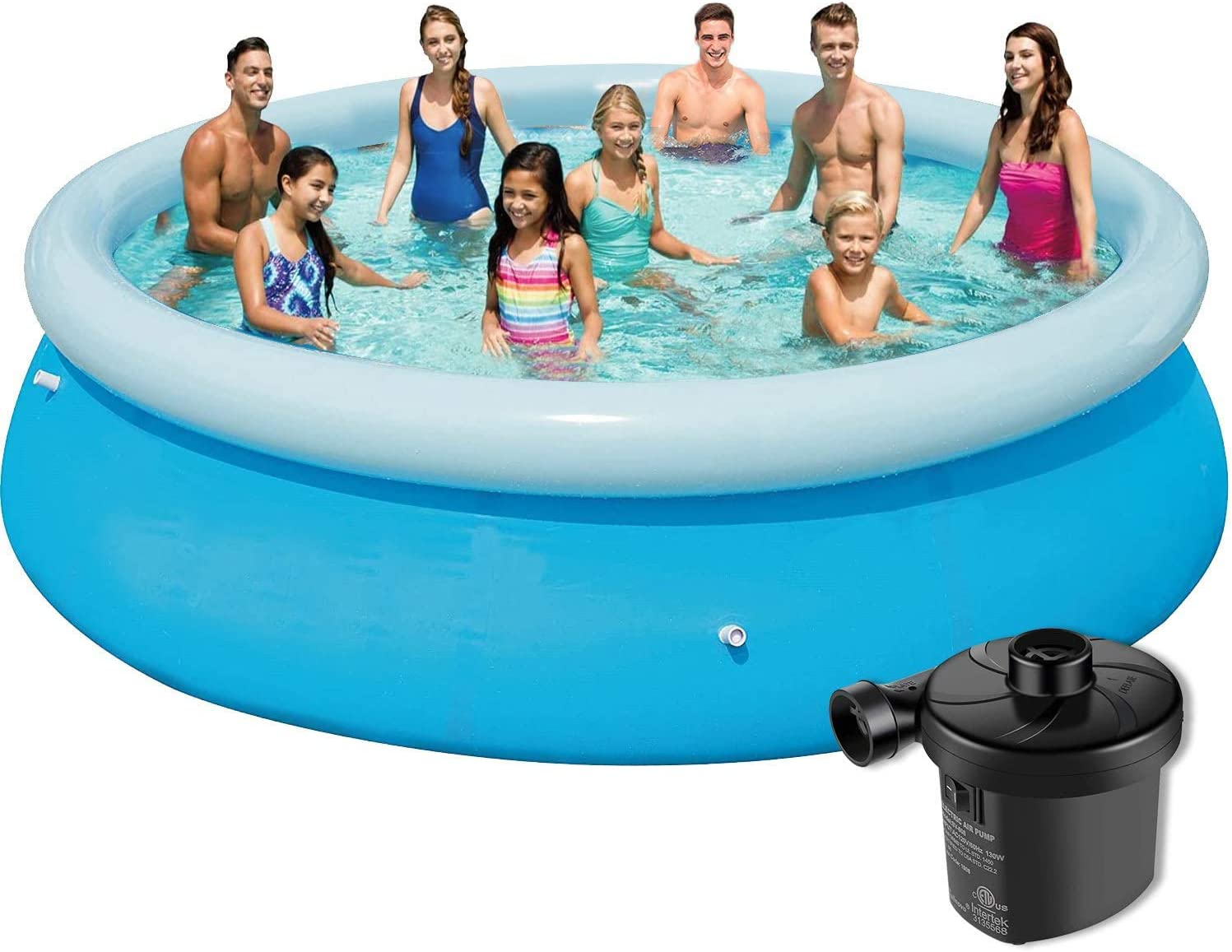 Inflatable Swimming Pools for Kids 10ft Quick Set Round Swimming Pool Above Ground, Outdoor, Yard, Garden - Easy Set Blow up Pool with Electric Air Pump