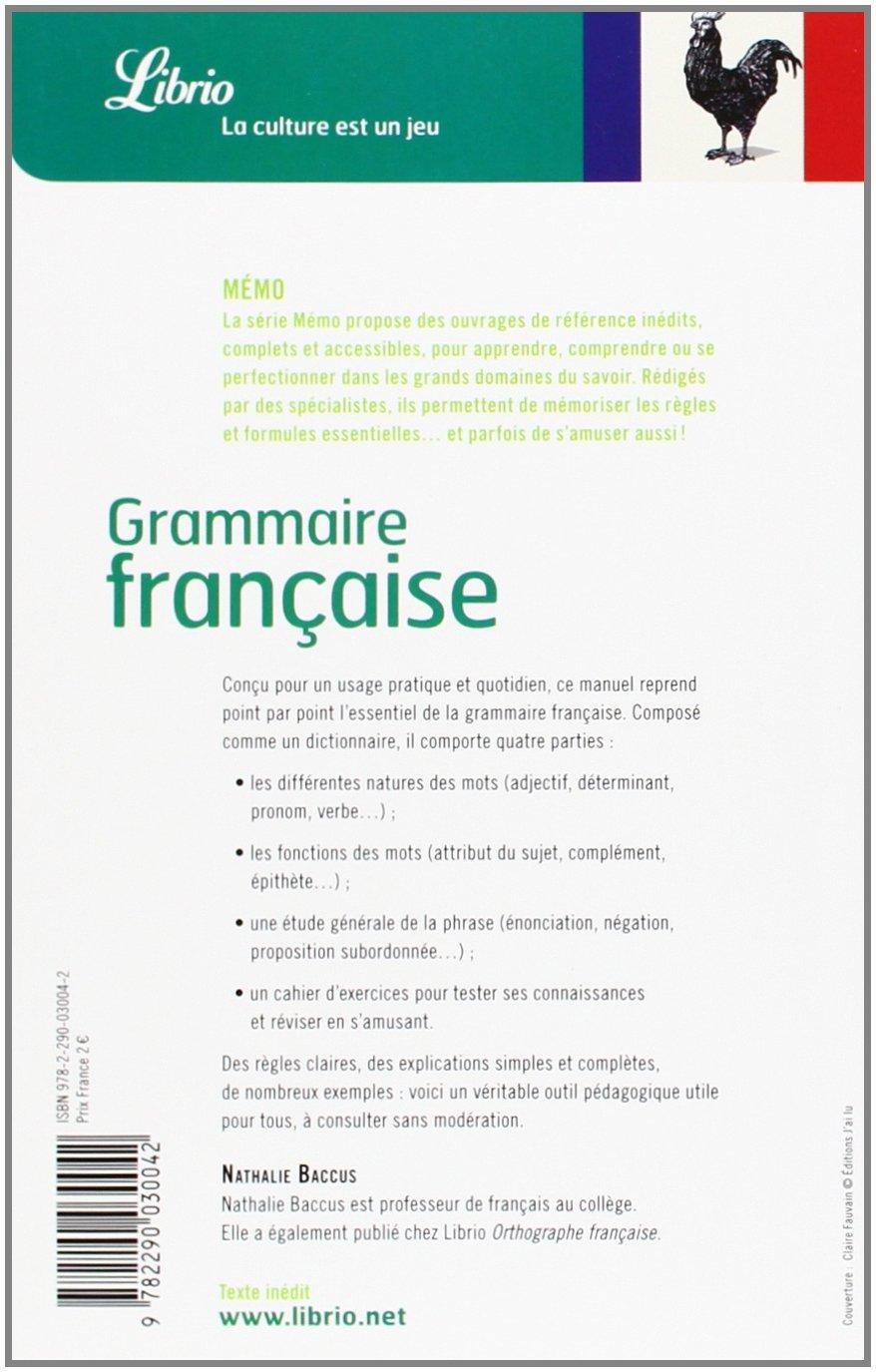 Grammaire française (Librio Mémo): Amazon.es: Nathalie Baccus: Libros en idiomas extranjeros