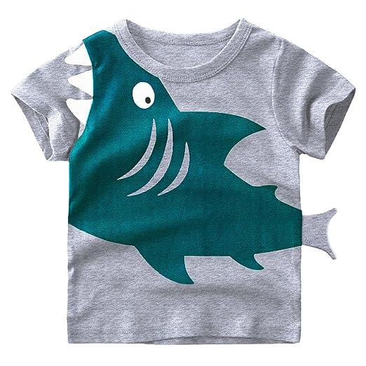 31e97ad38 EULLA Little Boys Short Sleeve Shark Tee Cotton Toddler Kids Casual T-Shirt  for Age