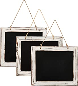 KAAL 3 Vintage Kitchen Decorative Chalkboards with Antique White Pine Wood Frame and Hanging String for Kitchen Wall Decor and Wedding Signs and Restaurant Menus with Size of 8 inches x 9.5 inches