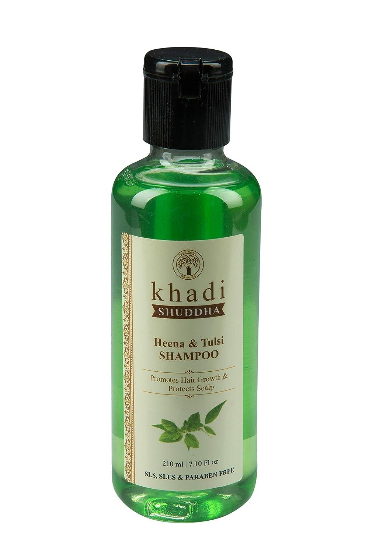Khadi Shuddha Heena & Tulsi Shampoo 45 ML - Promote Hair Growth & Protect  Hair Scalp (SLS, SLES & PARABEN FREE), green, 45 ml