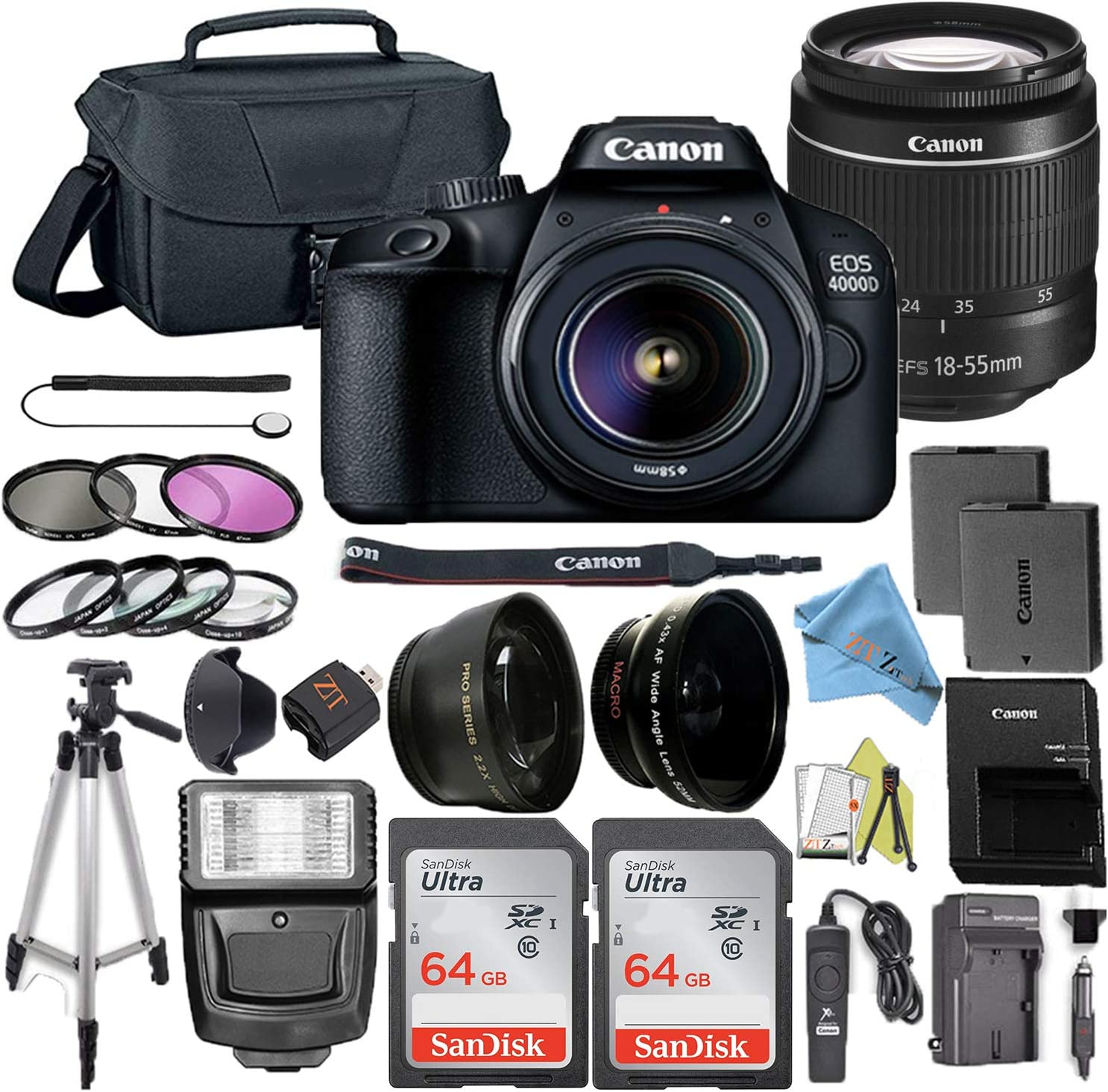 Canon EOS Rebel T100 / 4000D DSLR Camera Bundle with Canon EF-S 18-55mm Lens + 2pc 64GB SanDisk Memory Cards + Accessory Kit (18-55MM + 64GB)