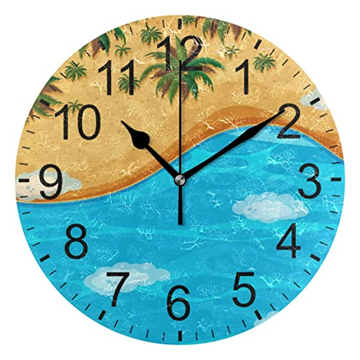 SENNSEE Reloj de Pared con Vista aérea de Playa, Decorativo, para ...