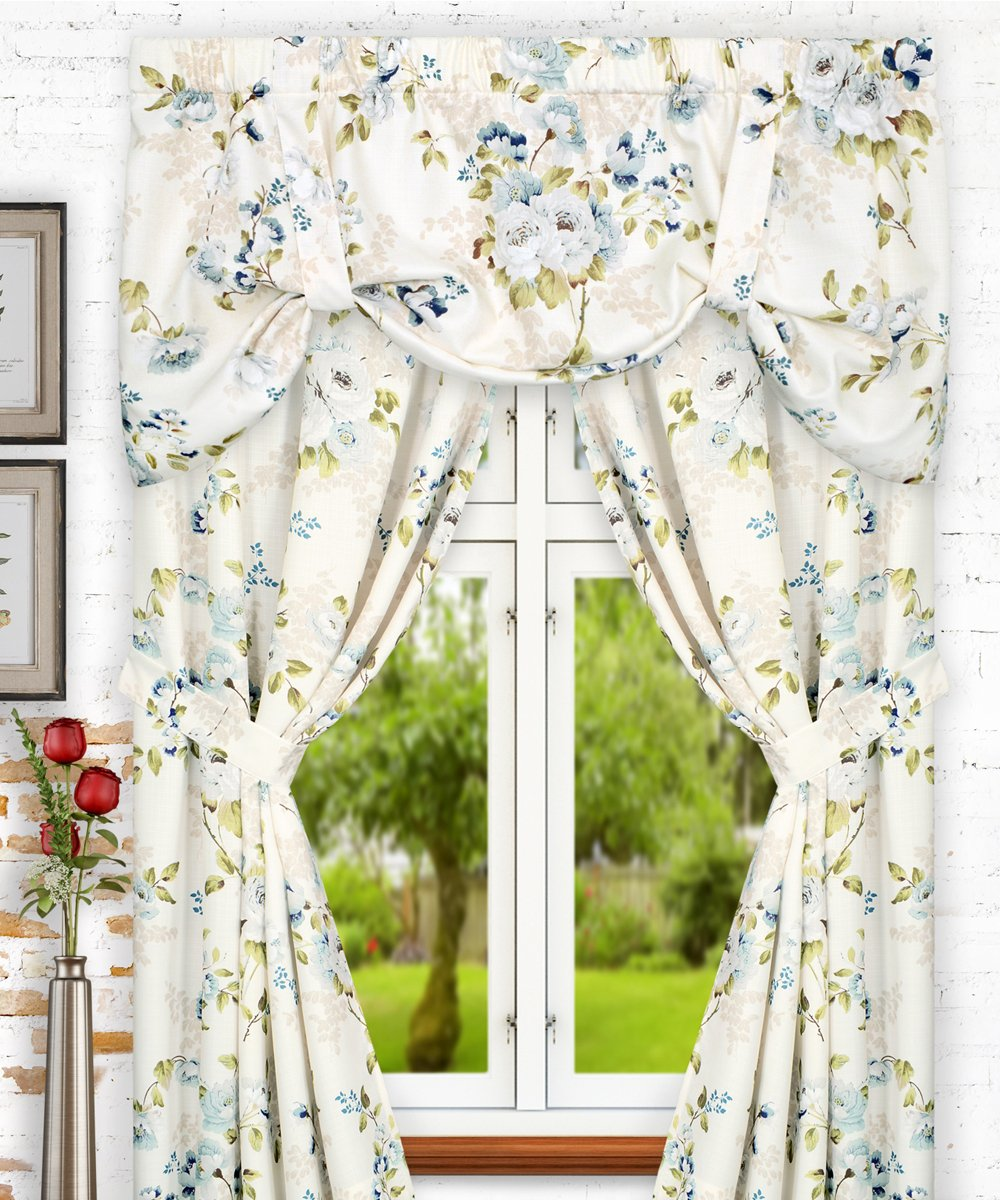 Ellis Curtain Chatsworth Traditional Floral Design Tie-Up Valance Blue