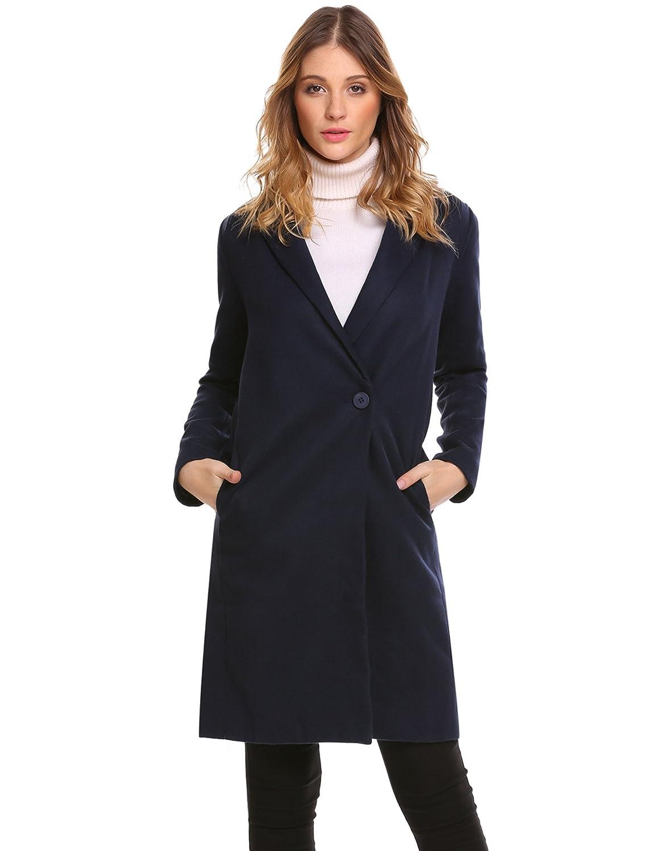 9903f364a90 Amazon.com  Zeagoo Women Lapel Long Pea Coat Wool Blended Jacket Cardigan  Dark Blue L  Clothing