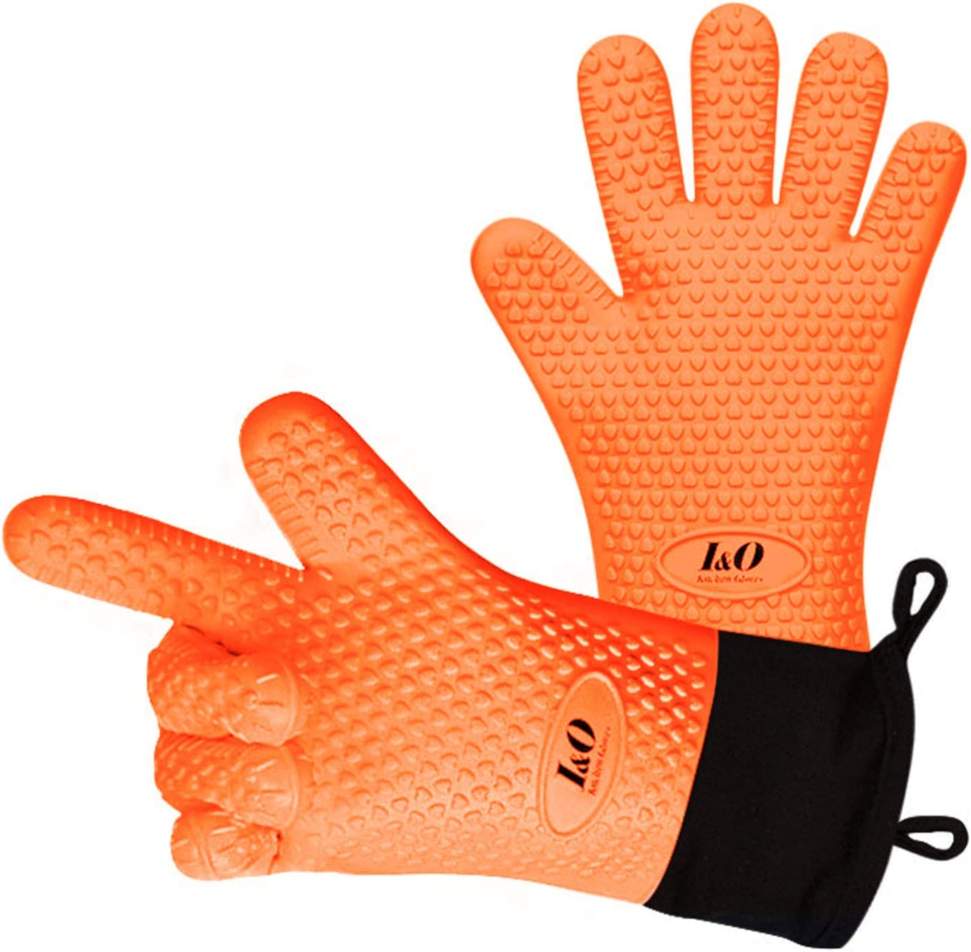 BBQ Gloves Oven Mitts – Heat Resistant Grilling Gloves – Silicone Cooking Gloves – ColorfulLong Waterproof Mitts – Non-slip Silicone Gloves – Double Layer Design – Multipurpose Oven Mitts (Orange)