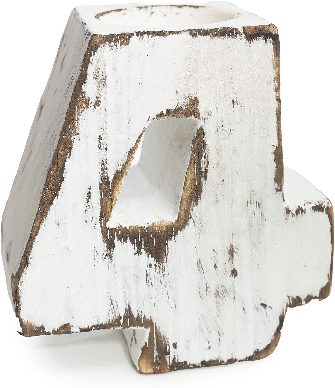 AWGifts Geburtstagszahlen Holz Teelichthalter Nummer 0-9 Zahlen Dekoration Geburtstag Feier