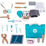 Children Wooden Doctor's Case, Role Play Pretend Dentist Toy Set, Wooden Doctor Kit For Kids, Medical Set With Realistic Stet