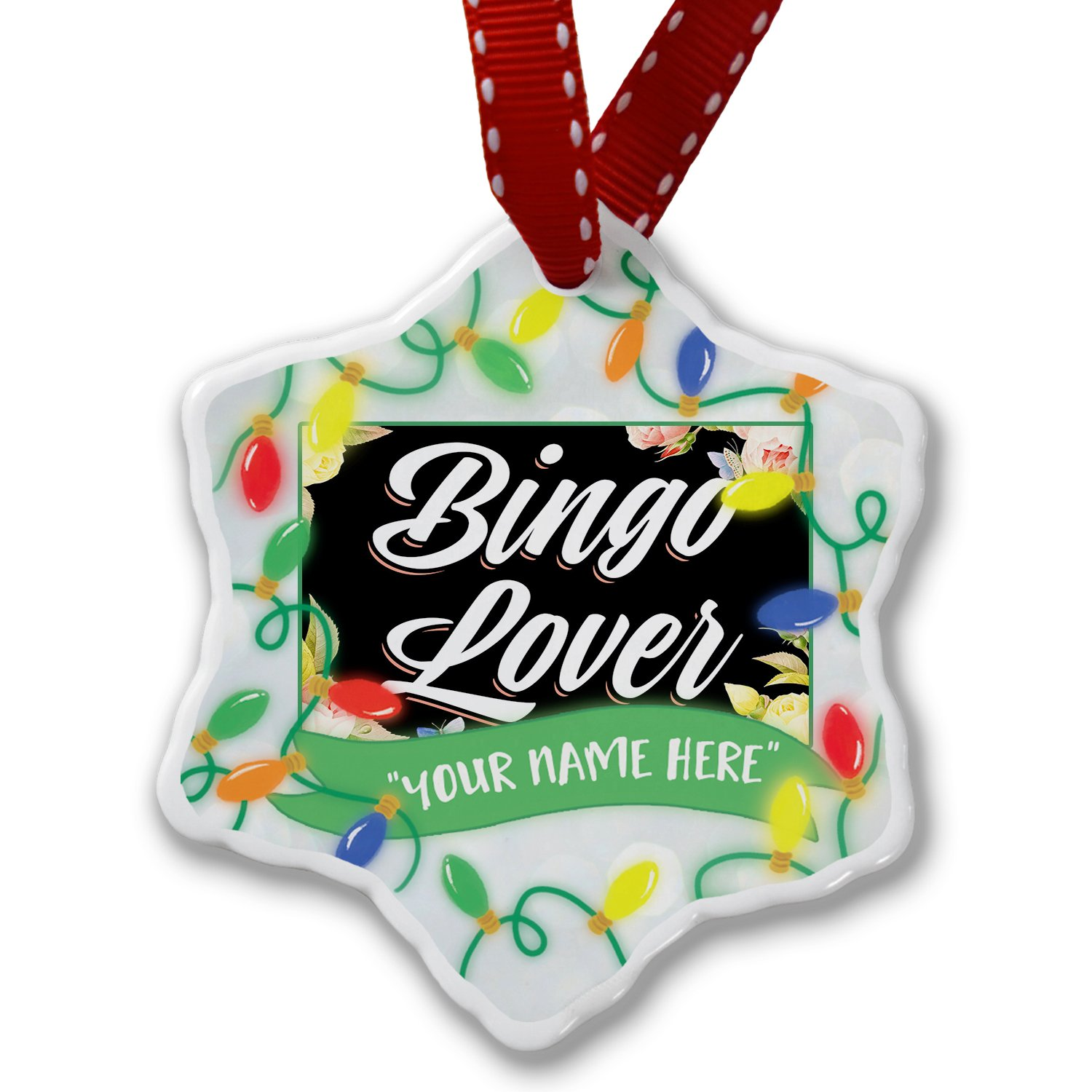 Personalized Name Christmas Ornament, Floral Border Bingo Lover NEONBLOND